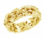 Filigree Calla Lilies Wedding Band in 14 Karat Yellow Gold
