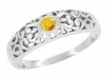 Edwardian Filigree Citrine Ring in Platinum