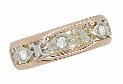 Filigree Diamond Antique Wedding Ring in 14 Rose ( Pink ) and White Gold - Size 6 1/2 - Item R879 - Image 1
