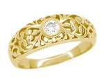 Edwardian 14 Karat Yellow Gold Filigree Diamond Ring | Heirloom Bezel Setting