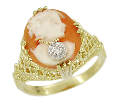Filigree Diamond Set Cameo Ring in 14 Karat Yellow Gold