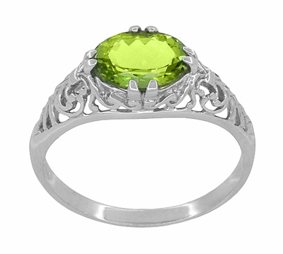 Filigree Edwardian East West Oval Peridot Promise Ring in Sterling Silver - Item R1125PER - Image 2