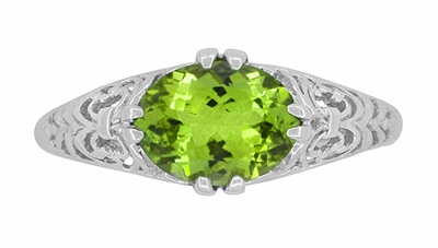 Filigree Edwardian East West Oval Peridot Promise Ring in Sterling Silver - Item R1125PER - Image 4