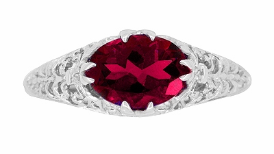 Filigree Edwardian Oval Ruby Promise Ring in Sterling Silver | 1.70 Carats - Item R1125R - Image 3