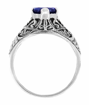 Filigree Edwardian Sapphire Promise Ring in Sterling Silver - Item SSR1S - Image 1