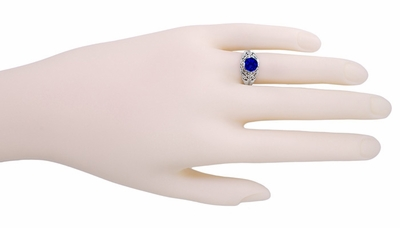 Filigree Edwardian Sapphire Promise Ring in Sterling Silver - Item SSR1S - Image 2