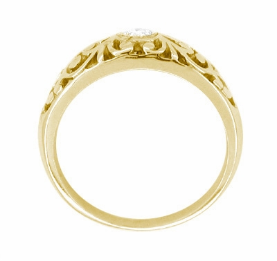 Filigree Edwardian White Sapphire Ring in 14 Karat Yellow Gold - Item R197YWS - Image 1