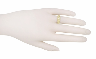 Filigree Edwardian White Sapphire Ring in 14 Karat Yellow Gold - Item R197YWS - Image 2