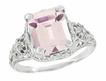 Filigree Emerald Cut Morganite Edwardian Platinum Engagement Ring