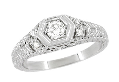 Filigree Engraved Art Deco Diamond Engagement Ring in 18 Karat White Gold | Low Profile Engagement