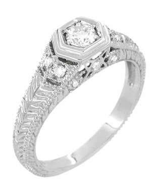 Filigree Engraved Art Deco Diamond Engagement Ring in 18 Karat White Gold | Low Profile Engagement - Item R646 - Image 2