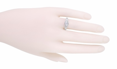 Filigree Engraved Art Deco Diamond Engagement Ring in 18 Karat White Gold | Low Profile Engagement - Item R646 - Image 4