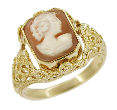 Filigree Flip Ring with Carnelian Shell Cameo and Onyx in 14 Karat Gold