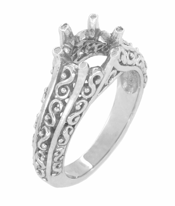 Filigree Flowing Scrolls Edwardian Vintage Style Engagement Ring Setting for a 1.25 - 2.00 Carat Diamond in 14 Karat White Gold - Item R1196W125 - Image 1