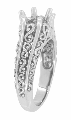 Filigree Flowing Scrolls Edwardian Vintage Style Engagement Ring Setting for a 1.25 - 2.00 Carat Diamond in 14 Karat White Gold - Item R1196W125 - Image 2