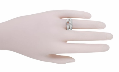 Filigree Flowing Scrolls Edwardian Vintage Style Engagement Ring Setting for a 1.25 - 2.00 Carat Diamond in 14 Karat White Gold - Item R1196W125 - Image 8