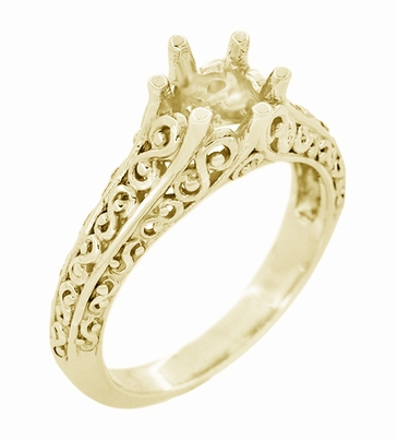 Filigree Flowing Scrolls Engagement Ring Setting for a 1/2 Carat Diamond in 14K Yellow Gold | 5.5mm Round - Item R1196Y50 - Image 1