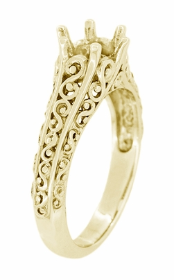 Filigree Flowing Scrolls Engagement Ring Setting for a 1/2 Carat Diamond in 14K Yellow Gold | 5.5mm Round - Item R1196Y50 - Image 2