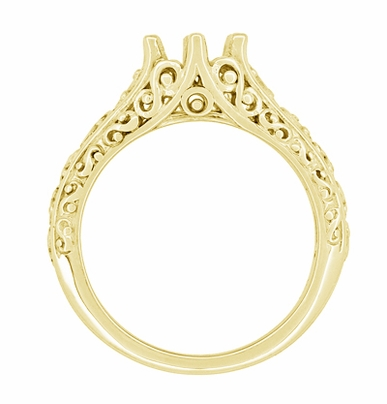 Filigree Flowing Scrolls Engagement Ring Setting for a 1/2 Carat Diamond in 14K Yellow Gold | 5.5mm Round - Item R1196Y50 - Image 3