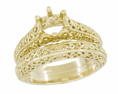 Filigree Flowing Scrolls Engagement Ring Setting for a 1/2 Carat Diamond in 14K Yellow Gold | 5.5mm Round - Item R1196Y50 - Image 5