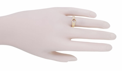 Filigree Flowing Scrolls Engagement Ring Setting for a 1/2 Carat Diamond in 14K Yellow Gold | 5.5mm Round - Item R1196Y50 - Image 7