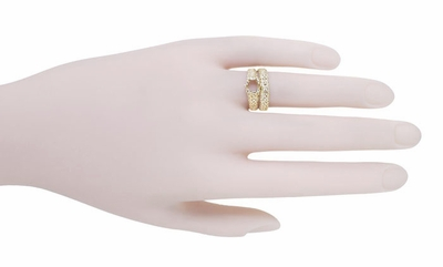 Filigree Flowing Scrolls Engagement Ring Setting for a 1/2 Carat Diamond in 14K Yellow Gold | 5.5mm Round - Item R1196Y50 - Image 8