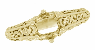 Filigree Flowing  Scrolls Engagement Ring Setting for a 3/4 Carat Diamond in 14 Karat Yellow Gold - Item R1196Y - Image 4