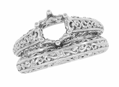 Filigree Flowing Scrolls Wedding Ring in 14 Karat White Gold - Item WR1196W - Image 7