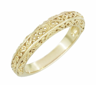 Filigree Flowing Scrolls Wedding Ring in 14 Karat Yellow Gold - Item WR1196Y - Image 1