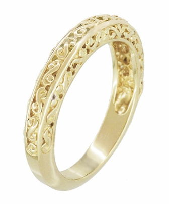 Filigree Flowing Scrolls Wedding Ring in 14 Karat Yellow Gold - Item WR1196Y - Image 2