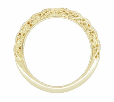 Filigree Flowing Scrolls Wedding Ring in 14 Karat Yellow Gold - Item WR1196Y - Image 3