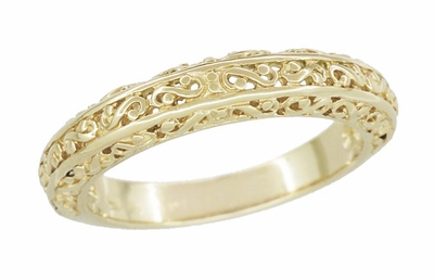 Filigree Flowing Scrolls Wedding Ring in 14 Karat Yellow Gold - Item WR1196Y - Image 4
