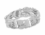 Filigree Lilies Artisan Wedding Band in 14 Karat White Gold - 6mm Wide
