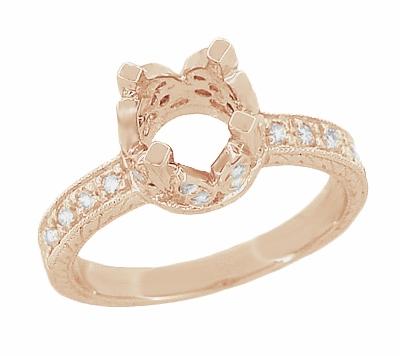 Filigree Loving Butterflies 1 Carat Diamond Art Deco Engraved Engagement Ring Setting in 14 Karat Rose ( Pink ) Gold - Item R178R - Image 1