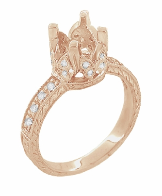Filigree Loving Butterflies 1 Carat Diamond Art Deco Engraved Engagement Ring Setting in 14 Karat Rose ( Pink ) Gold - Item R178R - Image 2