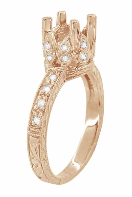 Filigree Loving Butterflies 1 Carat Diamond Art Deco Engraved Engagement Ring Setting in 14 Karat Rose ( Pink ) Gold - Item R178R - Image 3