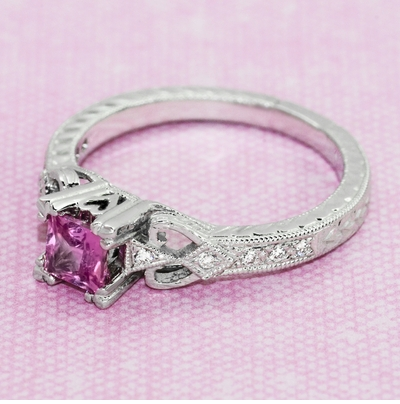Loving Hearts Art Deco Antique Style Engraved Princess Cut Pink Sapphire Engagement Ring in 18 Karat White Gold - Item R459WPS - Image 6