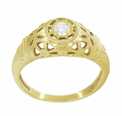 Filigree Open Flowers Diamond Engagement Ring in 14K Yellow Gold - Item R428Y - Image 2