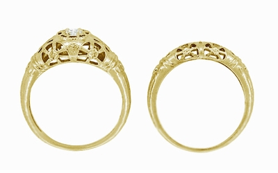 Filigree Open Flowers Diamond Engagement Ring in 14K Yellow Gold - Item R428Y - Image 7