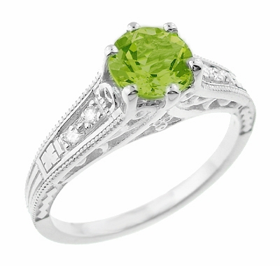 Filigree Peridot and Diamond Art Deco Engagement Ring in 14 Karat White Gold - Item R158PER - Image 1