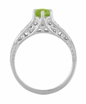 Filigree Peridot and Diamond Art Deco Engagement Ring in 14 Karat White Gold - Item R158PER - Image 3