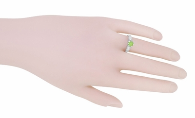 Filigree Peridot and Diamond Art Deco Engagement Ring in 14 Karat White Gold - Item R158PER - Image 6
