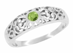 Filigree Scroll Edwardian Peridot Ring in 14 Karat White Gold