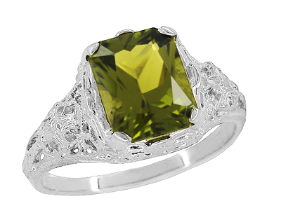 Edwardian Filigree Radiant Cut Olive Green Peridot Ring in Sterling Silver