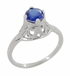 "Filigree Regal Scrolls ""High-Set"" Art Deco Blue Sapphire Engagement Ring in Platinum"