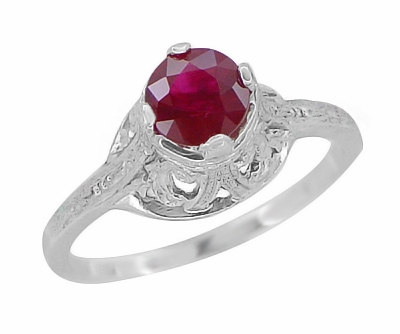 "Filigree Regal Scrolls ""High-Set"" Ruby Art Deco Engagement Ring in Platinum - Item R584P - Image 1"