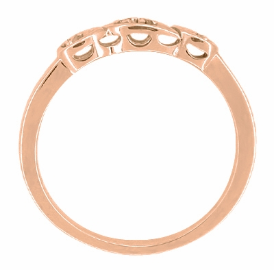 Filigree Retro Moderne Diamond Wedding Ring in 14 Karat Rose Gold - Item WR380R - Image 1