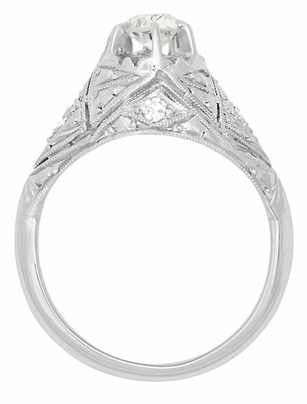 Filigree Ridgebury Vintage Art Deco Diamond Platinum Engagement Ring - Item R1048 - Image 3
