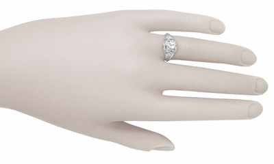 Filigree Ridgebury Vintage Art Deco Diamond Platinum Engagement Ring - Item R1048 - Image 5