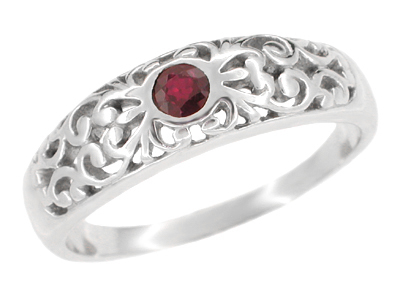 Edwardian Filigree Ruby Ring in Palladium | Hypoallergenic Band